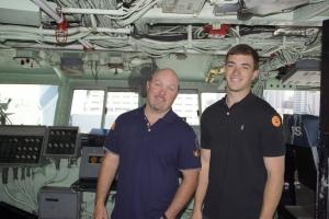 John and Blake on the Midway bridge tour