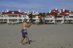 Blake showing his golfer's tan and football skills