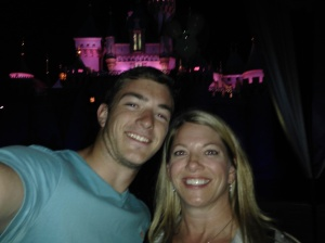 Every adult son's dream selfie: a pic with his mom in front of Cinderella's castle!