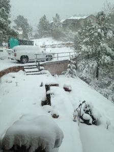 Heavy spring snow grounded us in Denver