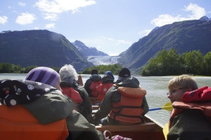 canoeing to the glacier ahead